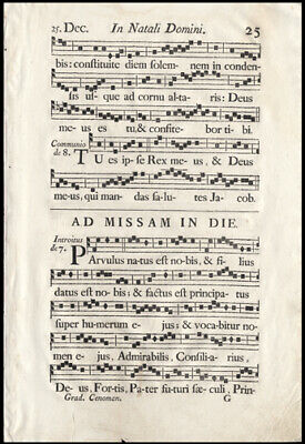 1751 Music Leaf Lot (4) French Antiphonal Mass Celebrated on Christmas Day