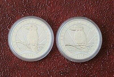 Lot of 2 - 2009 1 oz BU Silver Australia Kookaburra Coins in Mint Capsules .999