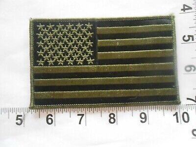 US USA American Flag patch SUBDUED OLIVE GREEN and BLACK  free shipping