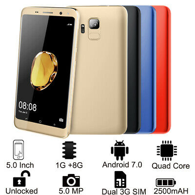 "5.0"" 3G Smartphone S9 Libre Android 7.0 1GB 8GB Doble Sim Quad core Cámara 5MP"