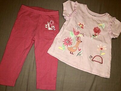 Next Baby Girls Pink Red Orange Coral Outfit Set Leggings Top Duck 6-9 Months