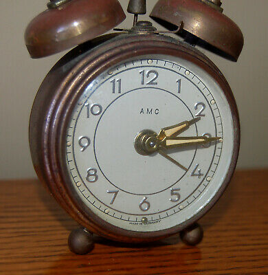 Very Rare Vintage (1930s) Antique German AMC Twin Bell Wind-Up Alarm Clock WORKS