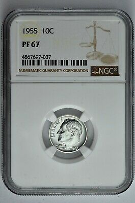 1955 10c Silver Proof Roosevelt Dime NGC PF 67