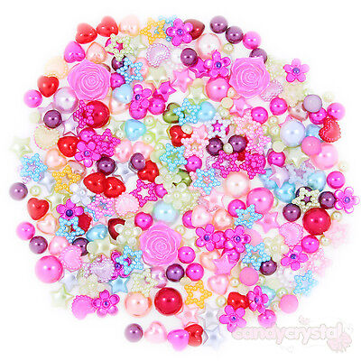 100pcs Mixed Colour Flat Back Pearl Embellishments Hearts, Bows, Flowers, Stars