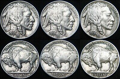 THREE Sharp Coins! 1936-P 1936-D 1936-S BUFFALO NICKELS 5¢! PDS Mints! FF113SQ