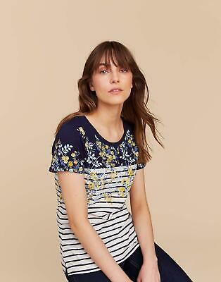 Joules Nessa Printed Jersey T shirt 6 in NAVY GOLD DITSY Size 6