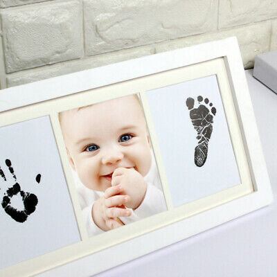 Newborn Baby Handprint Frame with Touch Ink Pad Photo Kit Home Decor Wood Set