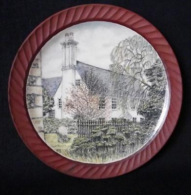 Peter Smith Art Pottery Display Plate 28.5cm Dia With a 17th Century Cottage