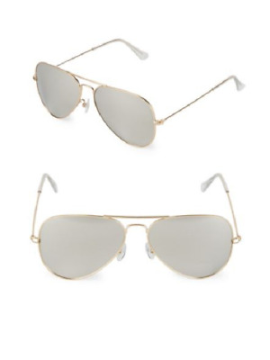 9a69194d1065 NEW AQS 58mm Sunglasses Unisex James GOLD /SILVER Mirrored Aviator $295