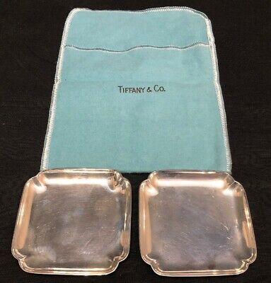 Vintage Tiffany & Co Sterling Silver Rectangle Ashtray Set