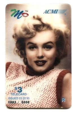 1995 Marilyn Monroe $3.00 Phone Calling Card ACMI Telecard - Issue of 5,000