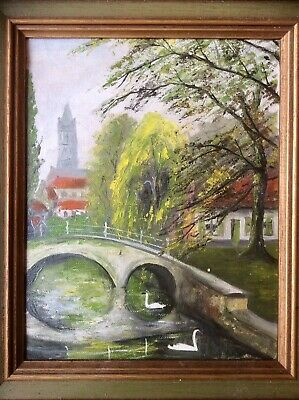 Original Signed 1900s Oil Painting,Post Impressionist Town & River,Wood Frame