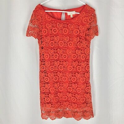 f4fb554709c2 Moulinette Soeurs Orange Lace Horkelia Dress Short Sleeve Shift  Anthropologie 6