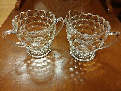 Vtg Anchor Hocking Depression Glass Bubble Clear, Sugar and Creamer, circa 1940s