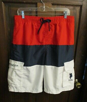 a51ebc01adc US POLO ASSN Mens Swim Shorts Trunks Mesh Lined Red White Blue Size ...