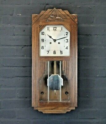 French Antique 1930's Art Deco Wall Clock (Westminster Chime)