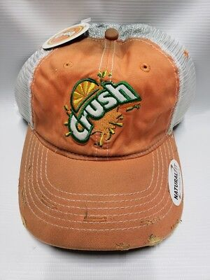 ORANGE CRUSH Soda Pop Beverage Drink ADVERTISING Distressed Trucker HAT NEW