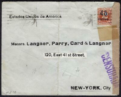 Spain #591 April 8 1938 Madrid to USA, Censored, (Republica Espanola) Censurada
