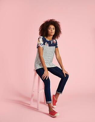 30b57a906a7 JOULES WOMENS NESSA Print Jersey T shirt in WHITE STRIPE WHITSTABLE ...