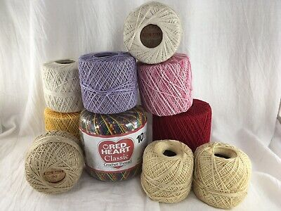 Vintage To New Lot Of Crochet Thread Red Heart Clarks Lot Of 10