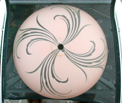 Vtg Antique Glass Light Fixture Art Deco Ceiling Chandelier Pink Large Swirl 16""