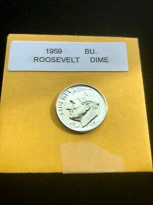 """1959-P Silver Roosevelt Dime Choice/Gem Bu.With """"Mint Luster"""""""