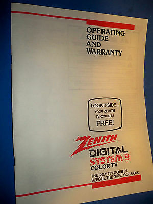 Zenith Television System 3 Color TV Owners Operating Guide Manual 1991