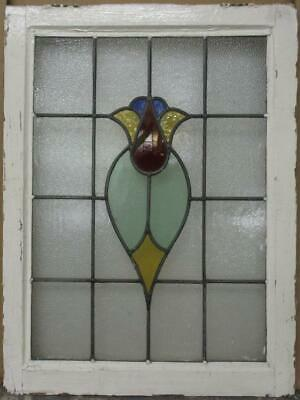 """MID SIZE OLD ENGLISH LEADED STAINED GLASS WINDOW Abstract Floral 21.25"""" x 28.25"""""""