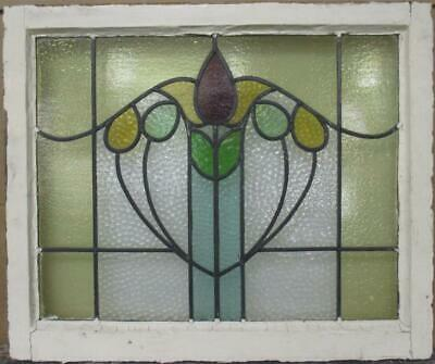 "MID SIZED OLD ENGLISH LEADED STAINED GLASS WINDOW Bordered Abstract 27"" x 22.5"""