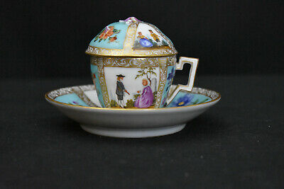 Antique Meissen Covered Cup & Saucer