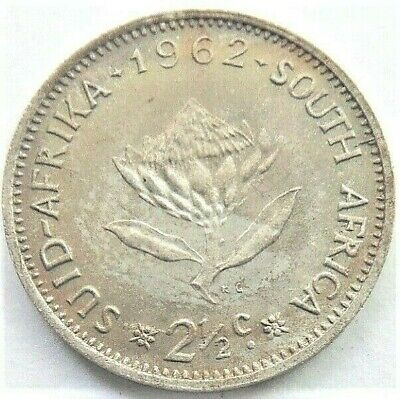 1962 SOUTH AFRICA, 2 1/2 Cents silver grading UNCIRCULATED.