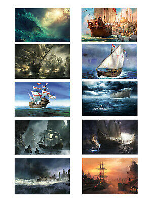 Home Decor Wall Art Canvas Print Oil Painting Artwork Pirates Ship Boat Picture