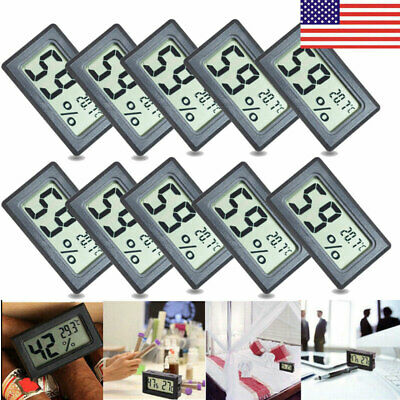 US 10PCS Mini Digital LCD Thermometer Hygrometer Temperature Humidity Meter