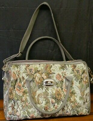 Vintage Jordache Floral Tapestry Carry On Luggage Overnight Travel Duffel Bag