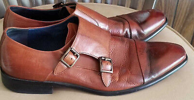 49f4983f9ed STEVE MADDEN BROWN Leather Mens Shoes Size 10M Slip On Buckle Dress Bowen