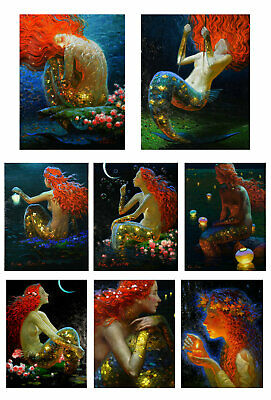 Home Decor oil painting art Print on Canvas,Fantasy VINTAGE Mermaid Picture NV40