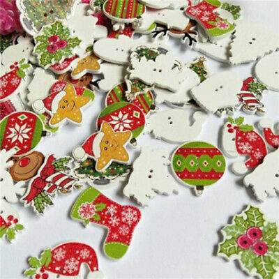 50Pcs Christmas Picture Mixed Color Wood Button Sewing Craft Upick DIY B