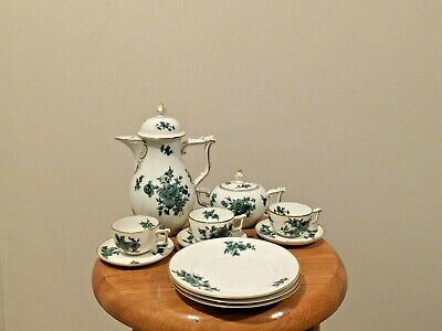 ROSENTHAL  Germany Gold Rim  Green DEMITASSE Cup and Saucer  Tea Set Floral