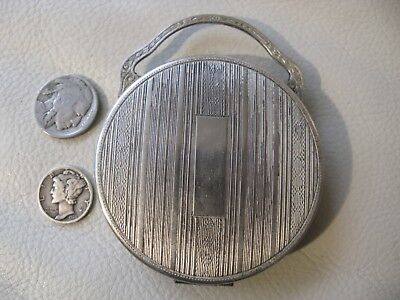 Antique Art Deco Silver P Engine Turned Bale Handle Mirror Powder Compact 1920s