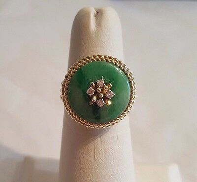 f39d94205 Large 14k 18mm round jade diamond double rope design ring size 6 1/4 8.5
