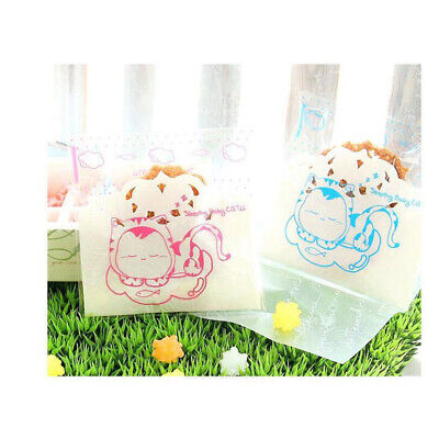 Handmade Cat Wave Dot Cookies Bags Cello Party Clear DIY Gift Packge Bag B