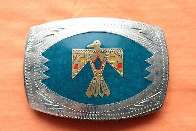 Vintage Johnson Held Thunderbird Inlay Hand Crafted Western Belt Buckle