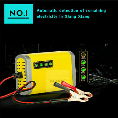 12V Volt Portable Car Battery Charger 2 Amp for Motorcycle Car Truck Maintainer