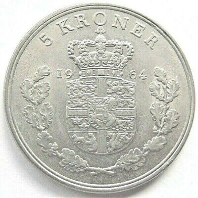 1964 C S DENMARK Frederik X, -  5 Kroner, grading About UNCIRCULATED.