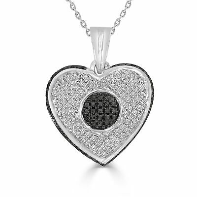 """1/4 cttw Round Black & White Diamond Heart Pendant With 18"""" Chain Necklace 925"""