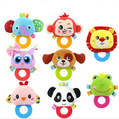 Plush Rattles Doll Baby Toy Animal Rattles Kids Soft Hand Bells Gifts B