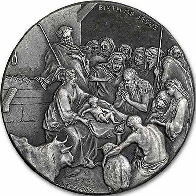 2016 Biblical Series The Birth Of Jesus Nativity 2 oz .999 Silver Antiqued Coin
