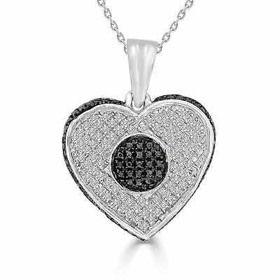 """1/4 cttw Round Black & White Diamond Sterling Silver Heart Pendant With 18"""""""