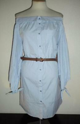 Beige By Eci Ms Size 4 Blue And White Pinstriped Off The Shoulder Shirt Dress