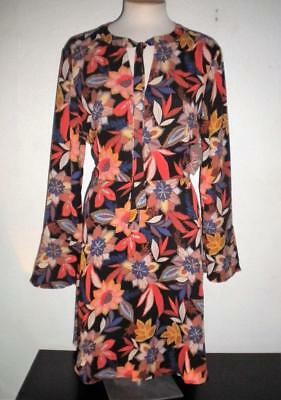 Beige By Eci Women's Size 14 Multi-Color Floral Print Neck Tie A-Line Dress
